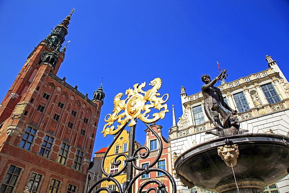 Town Hall of Rechtstadt Districton Long Market in Gdansk, Gdansk, Pomerania, Poland