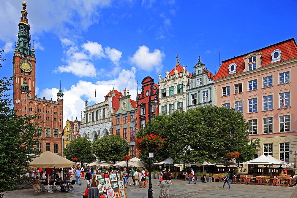 Town Hall of Rechtstadt District on Long Market in Gdansk, Gdansk, Pomerania, Poland, Europe