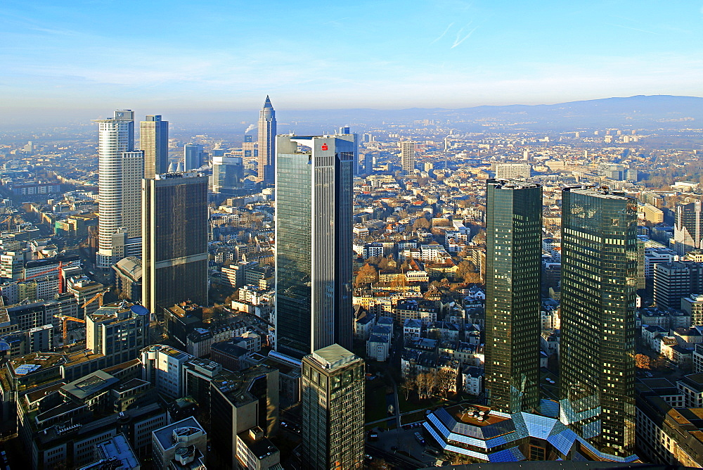 View from Maintower to Financial District, Frankfurt am Main, Hesse, Germany, Europe