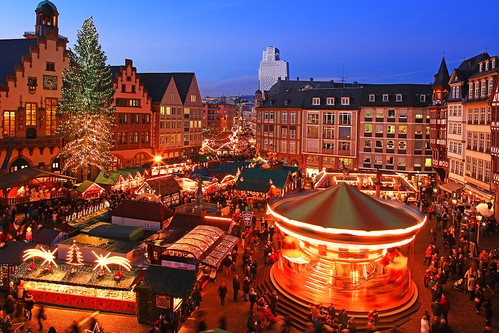 Christmas Fair on Roemerberg Square, Frankfurt am Main, Hesse, Germany, Europe