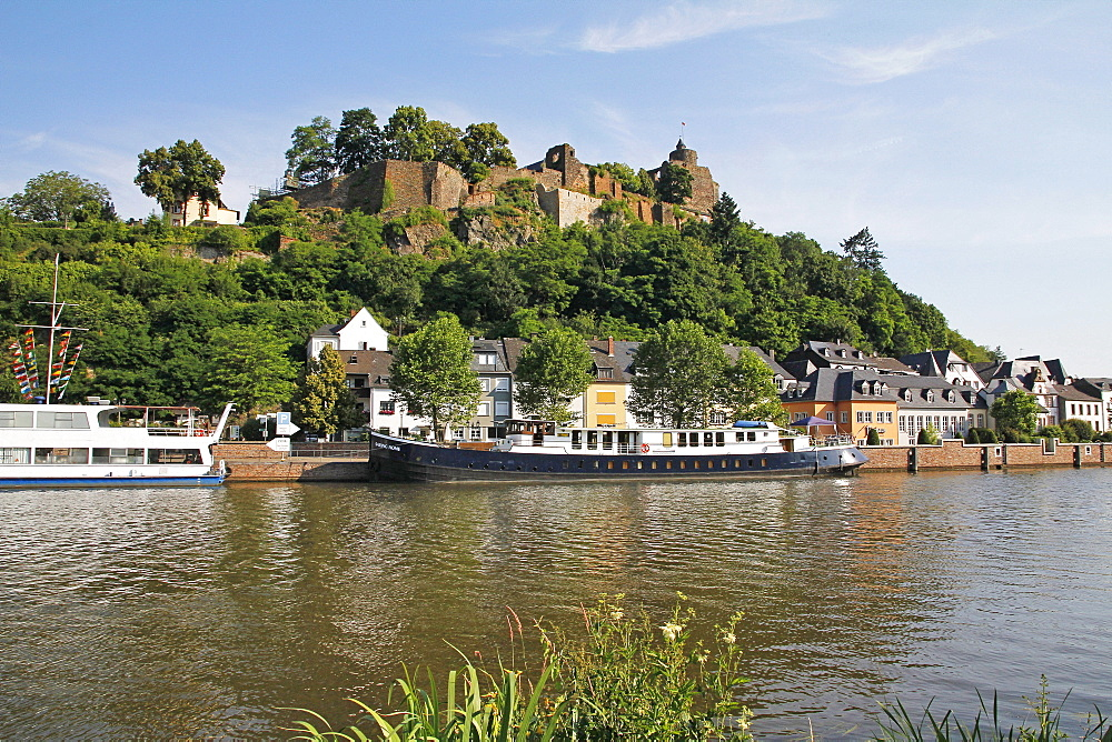 Tour Boats with Castle Ruin in Saarburg on Saar River, Rhineland-Palatinate, Germany