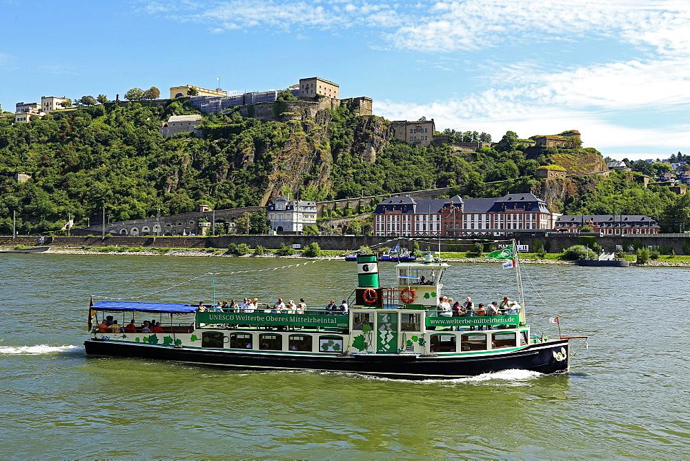 Fortress Ehrenbreitstein, Rhine River, Koblenz, Rhineland-Palatinate, Germany, Europe
