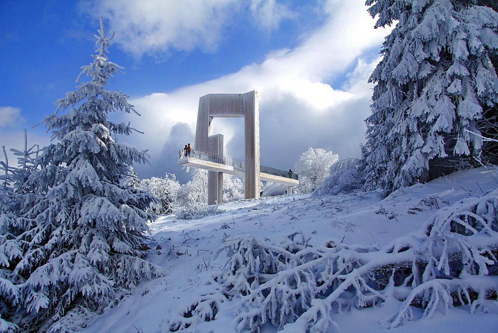 Sightseeing platform Windklang, Mount Erbeskopf, Hunsruck, Rhineland-Palatinate, Germany, Europe