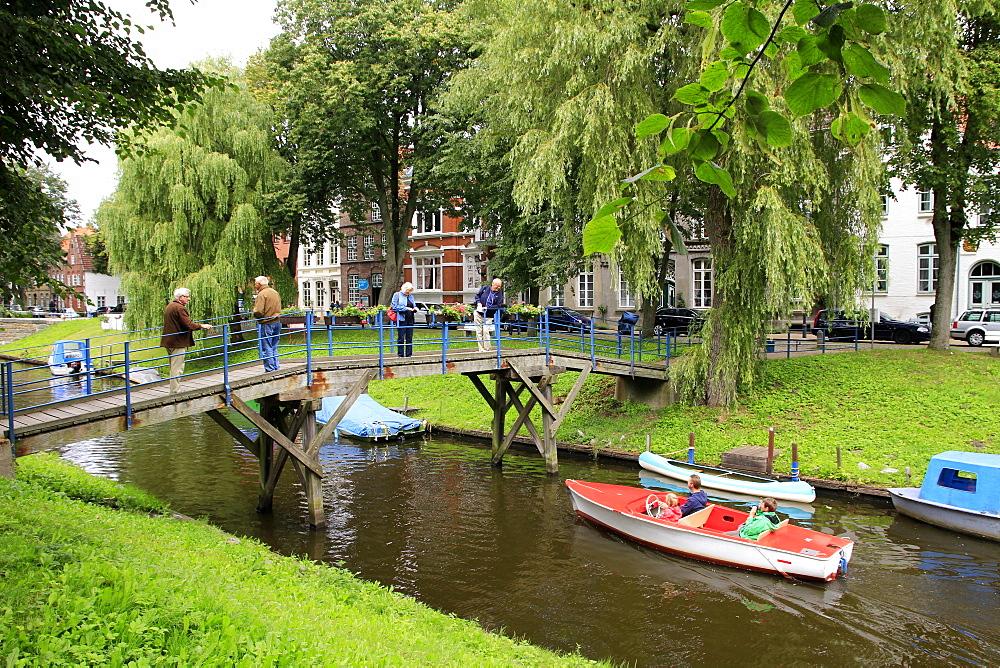 Urban Canal in Friedrichstadt, Eider, Schleswig-Holstein, Germany, Europe