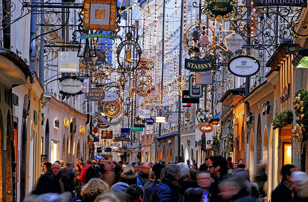 Christmas Decorations in Getreidegasse, Salzburg, Austria, Europe