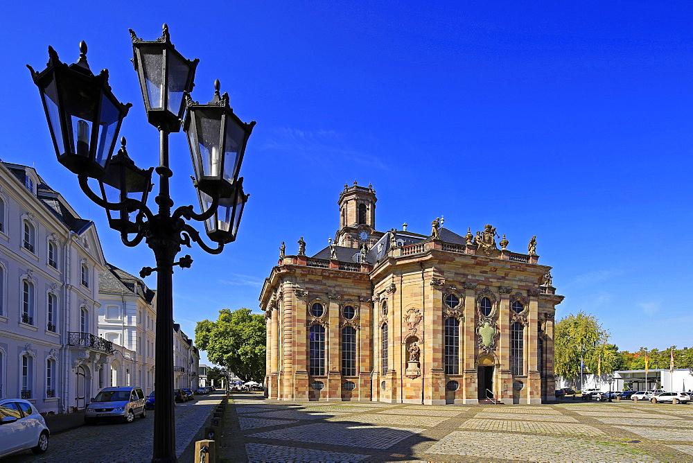 Ludwigsplatz Square and Church of St. Ludwig in Saarbruecken, Saarland, Germany