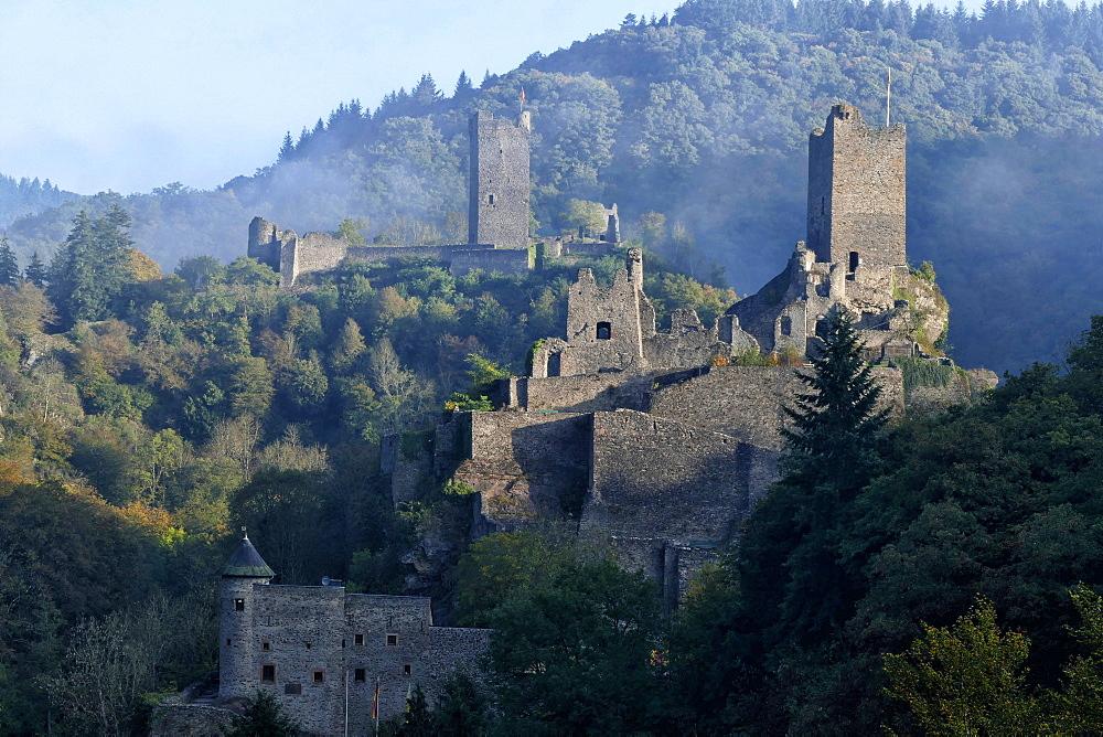 Ruins of Oberburg and Niederburg Castles, Manderscheid, Eifel, Rhineland-Palatinate, Germany