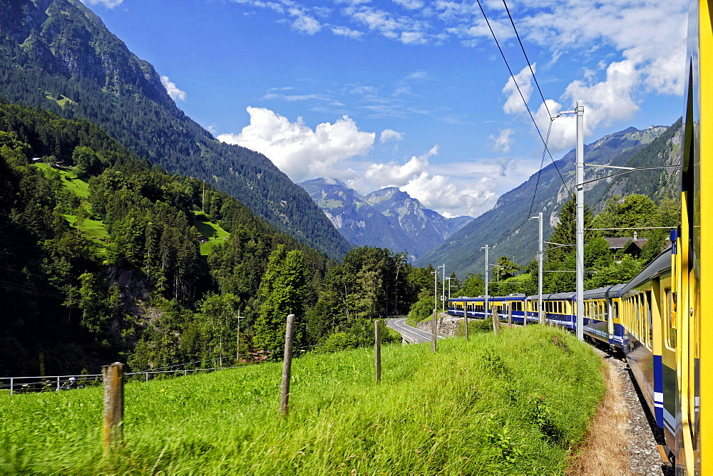 Berner Oberlandbahn Railway in Lutschental near Grindelwald, Bernese Oberland, Switzerland, Europe