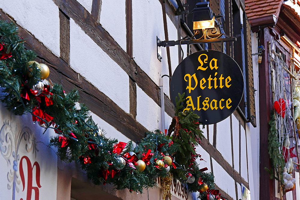 Christmas decoration in the old town Petite France, Strasbourg, Alsace, France - 396-5362