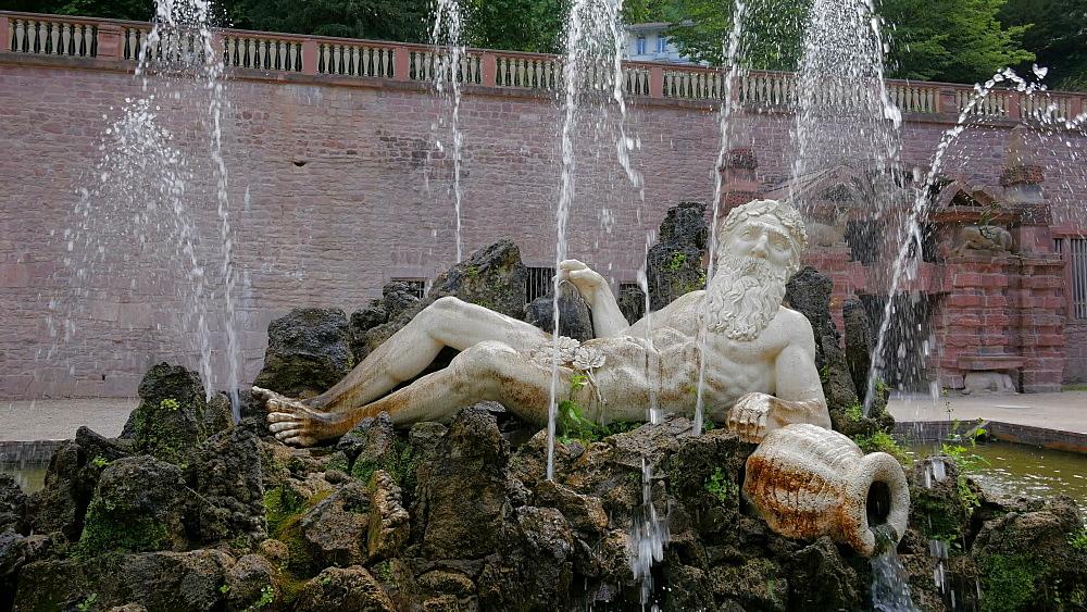 Fountain, Father Rhine at Schlossgarten of Heidelberg Castle, Heidelberg, Baden-Wurttemberg, Germany, Europe