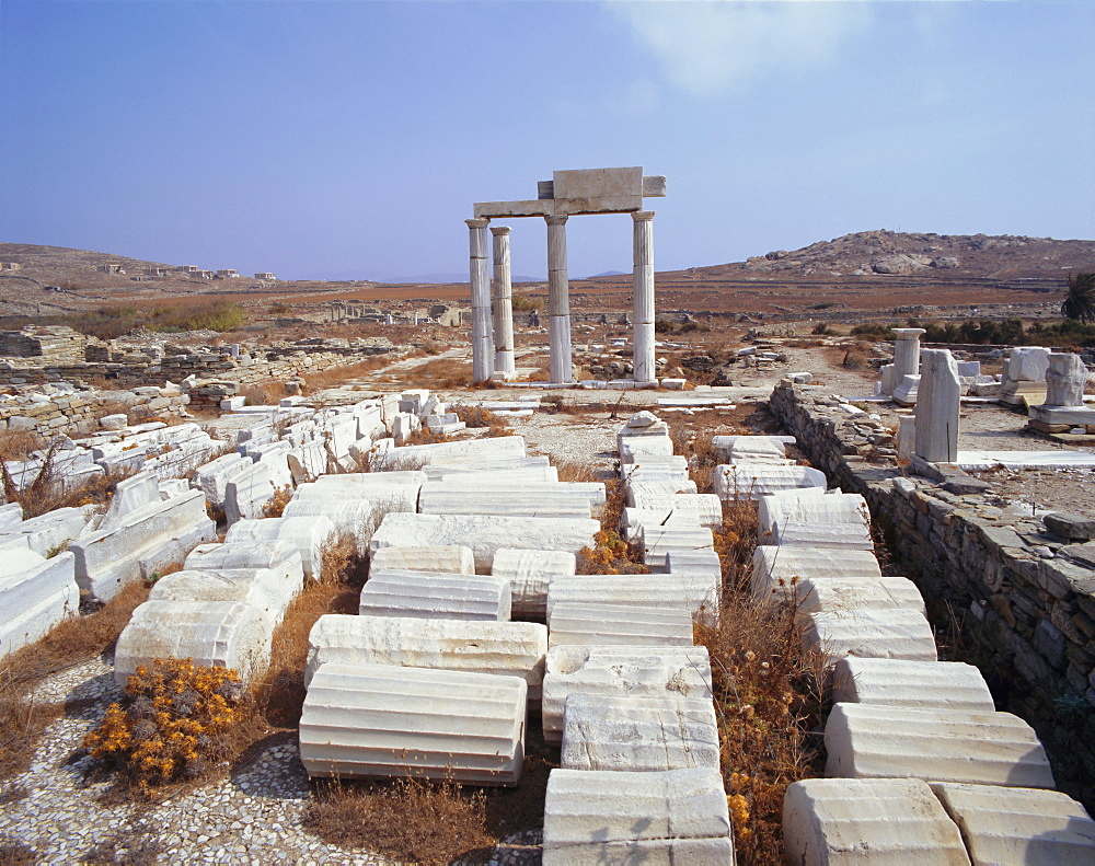 Archaeological site, Delos, Cyclades Islands, Greece, Europe