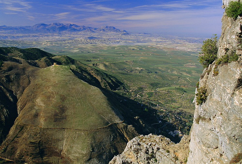 View from Cazorla National Park, olive groves in distance, Jaen Province, Andalucia (Andalusia), Spain, Europe