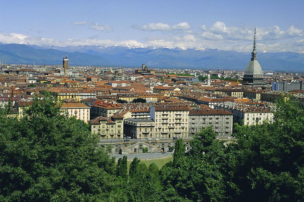 City centre and the Alps, Torino (Turin), Piemonte (Piedmont), Italy, Europe