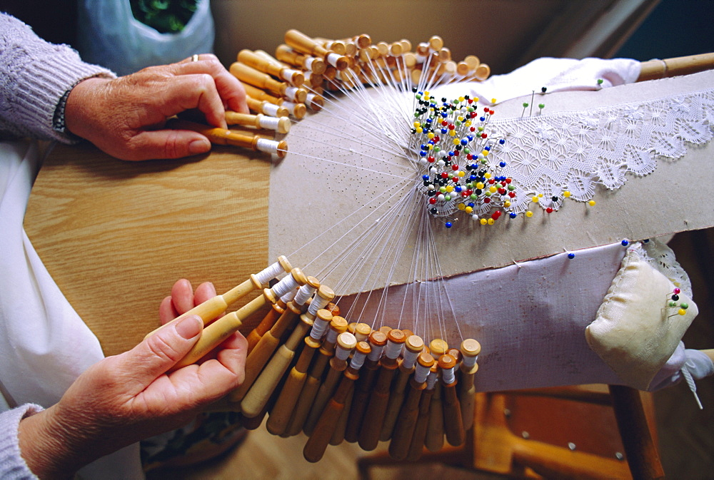 """Lace making, Camarinas, Galicia, Spain, Europe""""Making bobbin lace, Camarinas is a famous lace making village, the lace makers are called Palilleiras"""""""