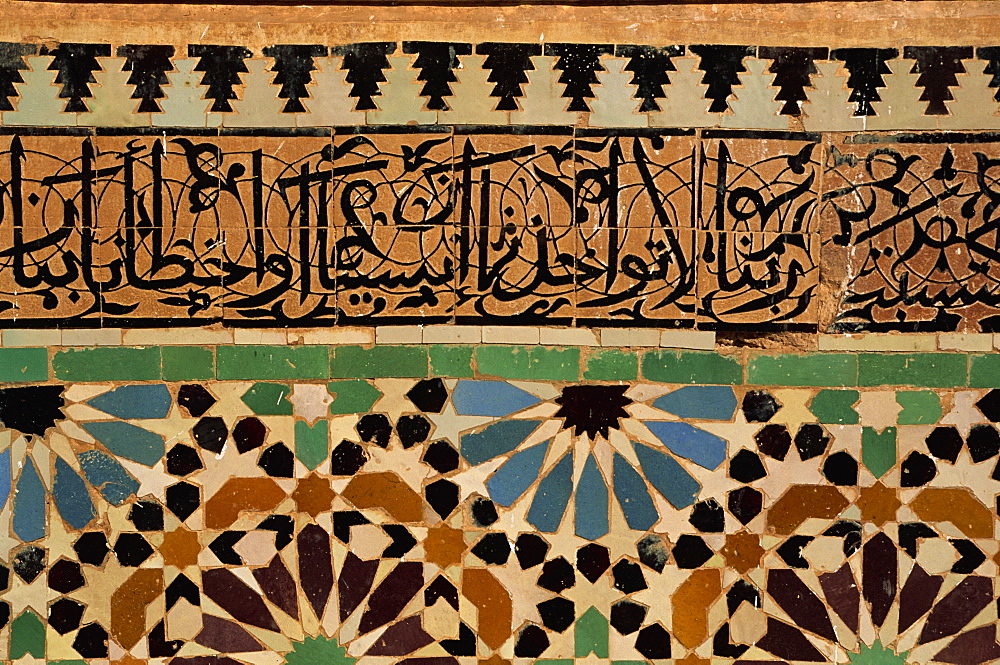 Decorative tiling, Saadian Tombs dating from the 16th century, Marrakesh, Morocco, North Africa, Africa - 397-2088