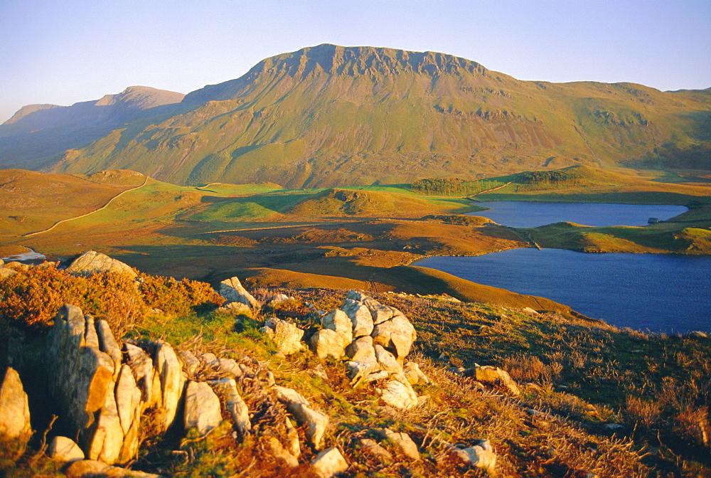 Cadair Idris mountain and Gregennen Lake (National Trust), Snowdonia National Park, Gwynedd, Wales, UK