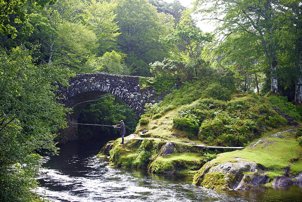 Fly fishing on the River Shiel, near Acharacle, Invernesshire, Scotland, United Kingdom, Europe - 397-2555