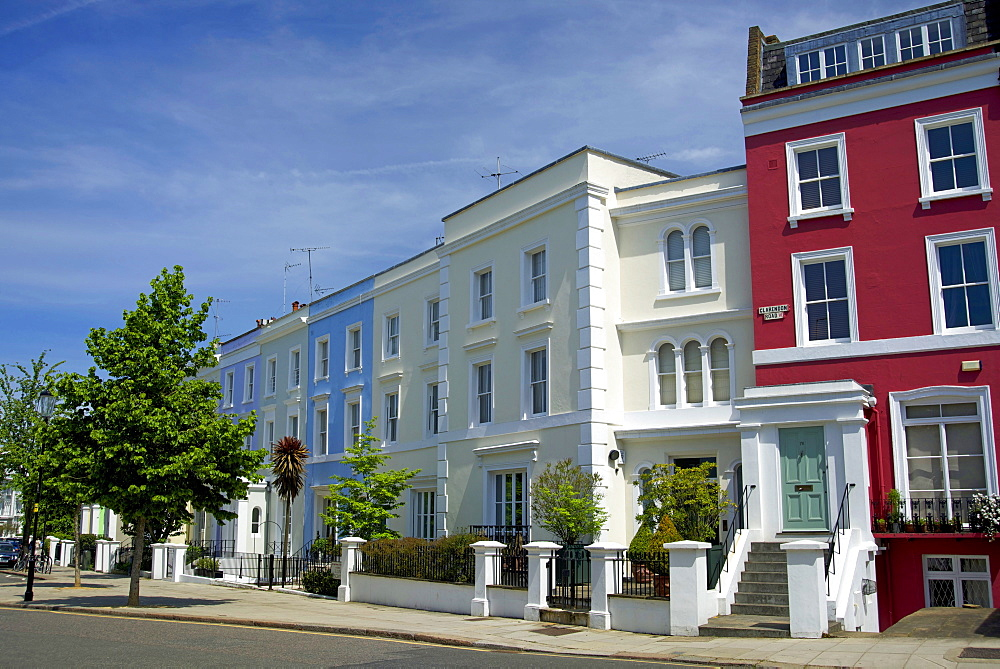 19th century Victorian terraced houses in Clarendon Road, Notting Hill, London, England, United Kingdom, Europe - 397-2559