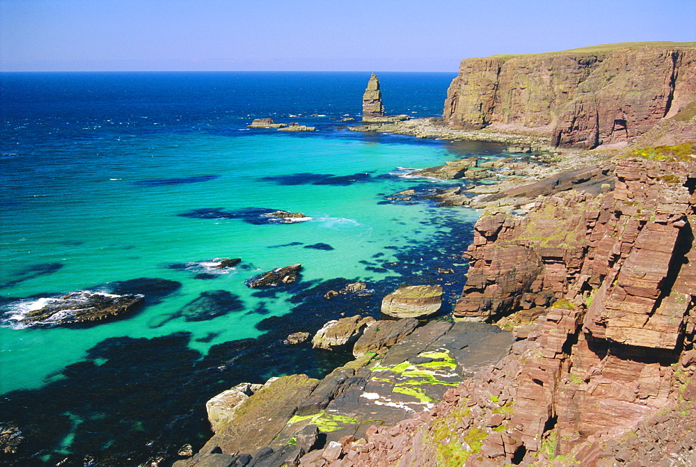 Coastal sea cliffs and sea stacks near Cape Wrath and Sandwood Bay, Highland Region, Scotland