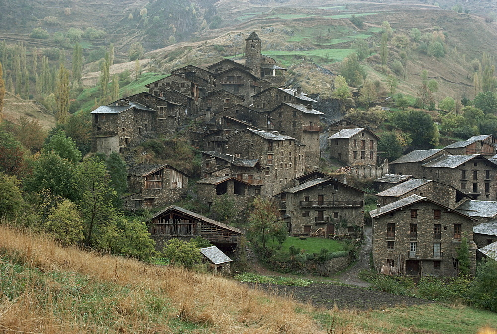 Village surmounted by Romanesque church, Pal, Andorra, Europe