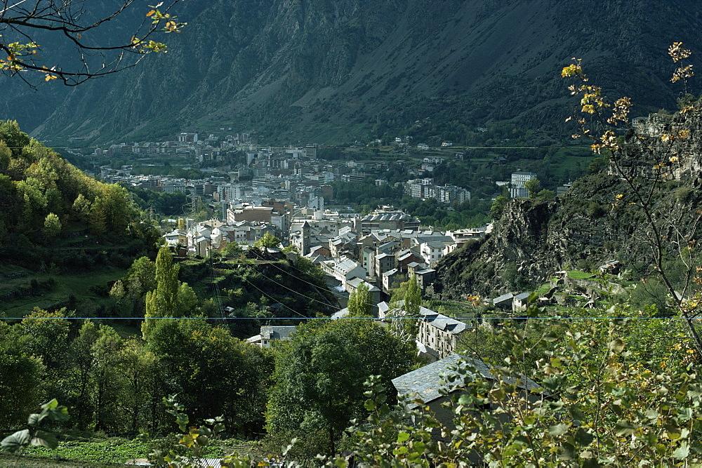 Les Escaldes in foreground and Andorra la Vella, Andorra, Europe