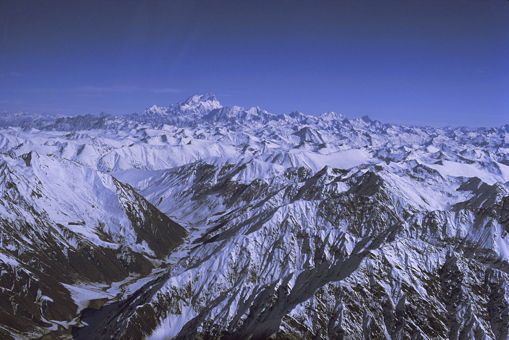 Aerial view of Himalaya mountain range, with Nanga Parbat, 8125m, seen from south west, rising above other mountains, Pakistan, Asia