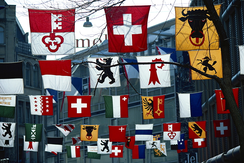 Flags of various Cantons, Zurich, Switzerland, Europe - 399-2445
