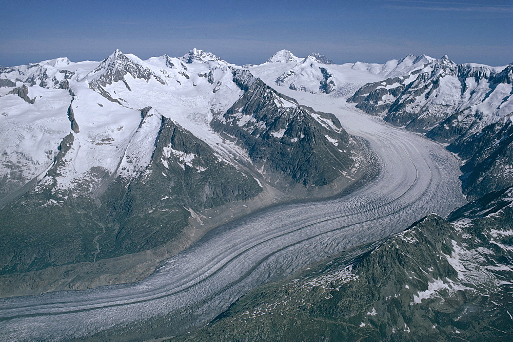 Aletschglacier, with Jungfrau and Monch mountains in background, Bernese Alps from south, Switzerland, Europe