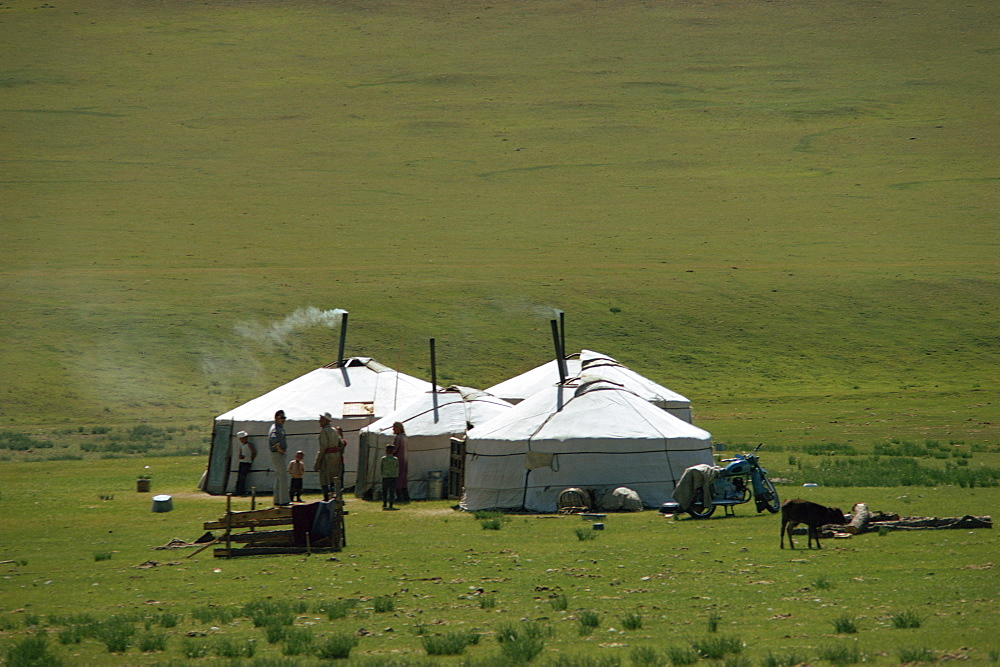 Yurts in a Ger camp near Hangay in Mongolia, Central Asia, Asia