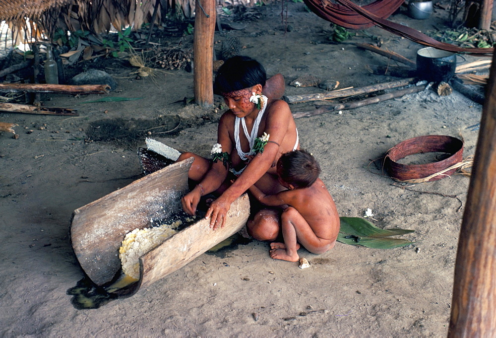 Yanomami woman preparing manioc, Brazil, South America