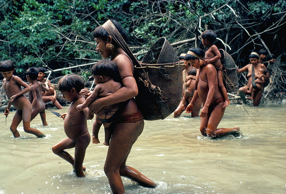 Yanomami Indians going fishing, Brazil, South America