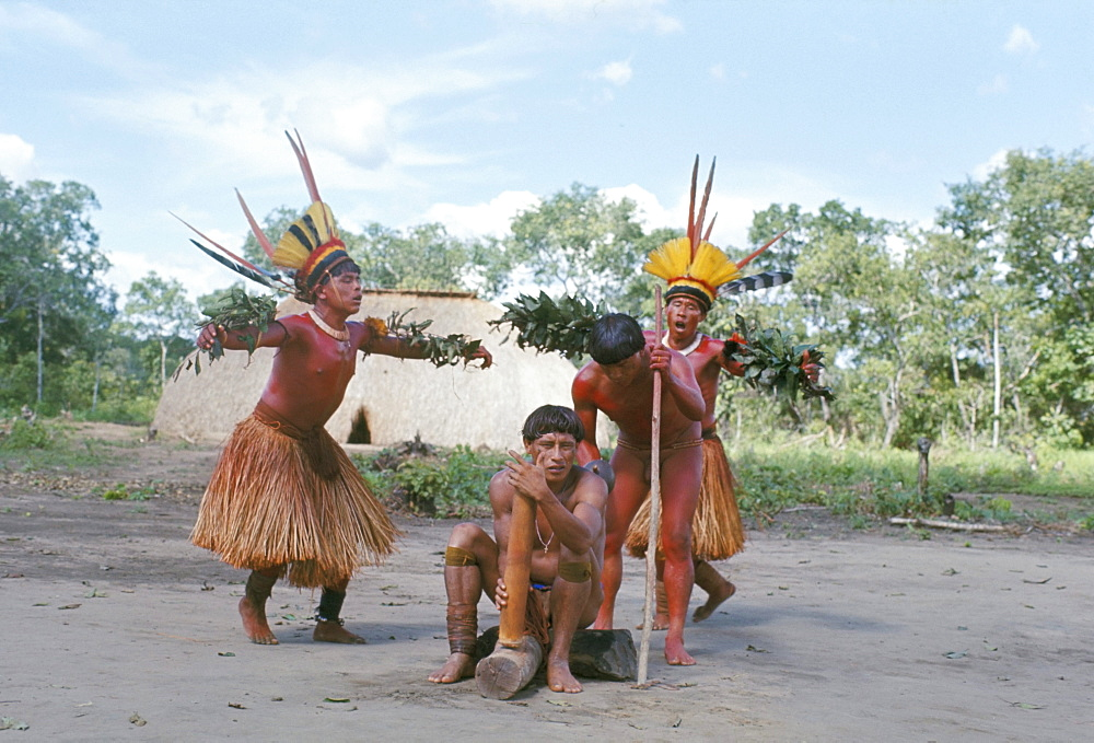 Kamayura Indian fish dance, Xingu, Brazil, South America