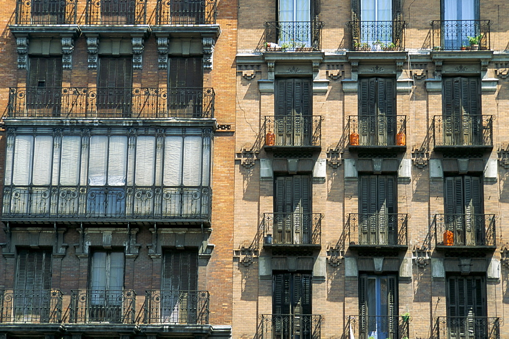 Balconies on houses, Igl S Isid, Madrid, Spain, Europe