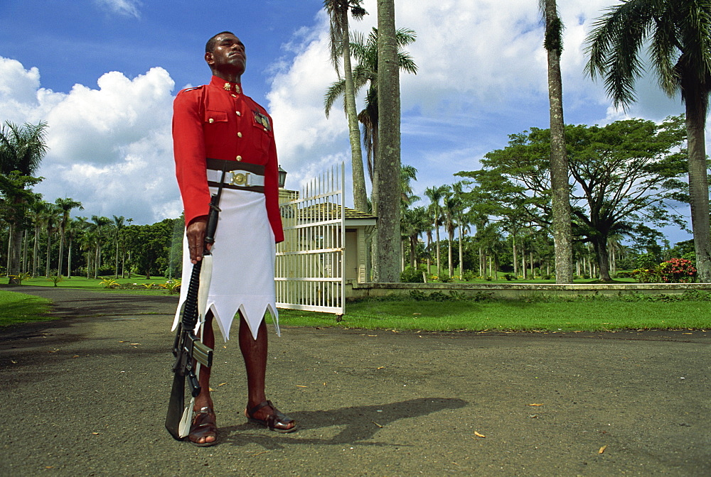 Sentry at Government House, Suva, Viti Levu, Fiji, Pacific Islands, Pacific