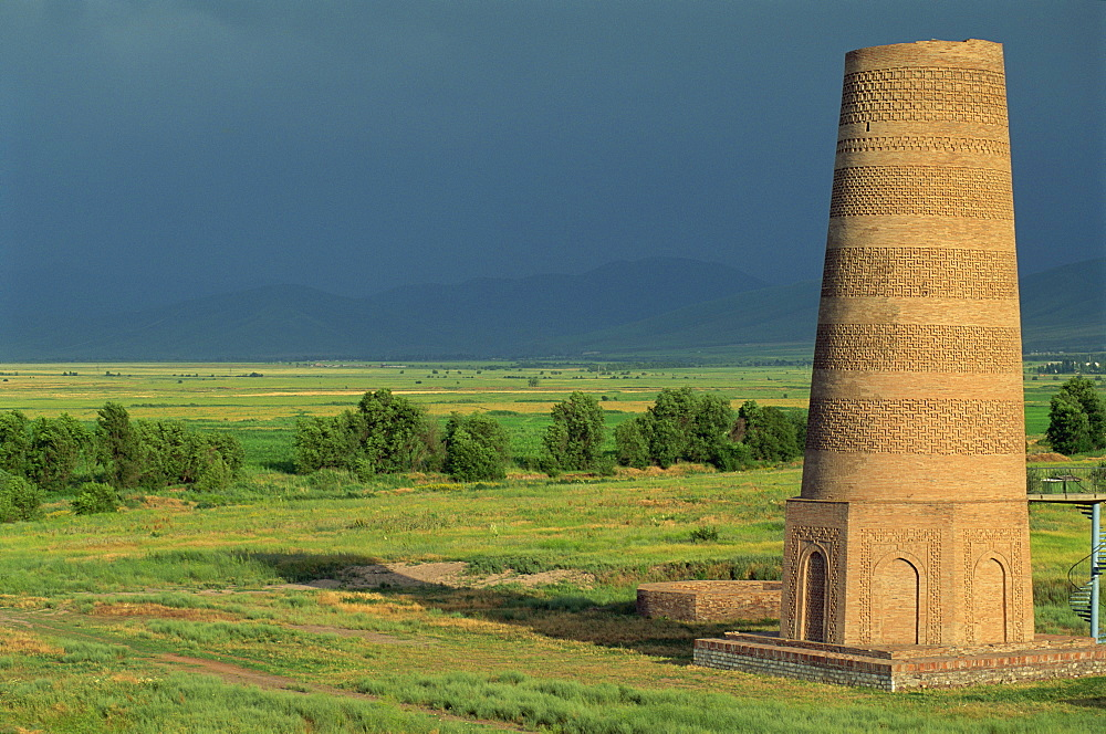 Burana Tower, an 11th century Karakhanid minaret, near Bishkek, Kyrgyzstan, Central Asia, Asia