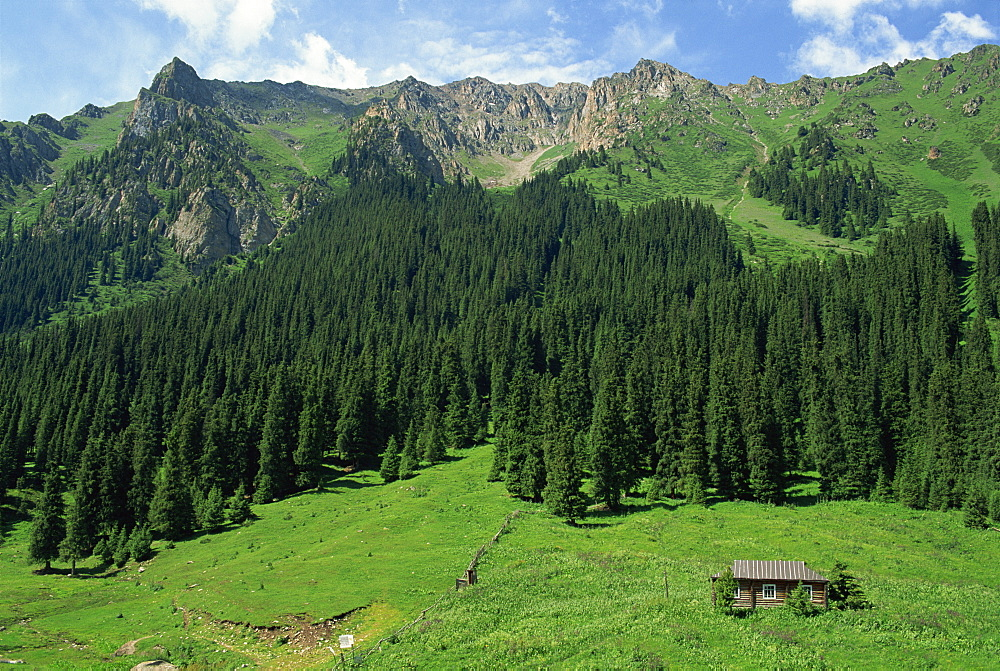 Hut and trees in alpine landscape at Altyn-Arashan near Kara-Kol in Kyrgyzstan, Central Asia, Asia