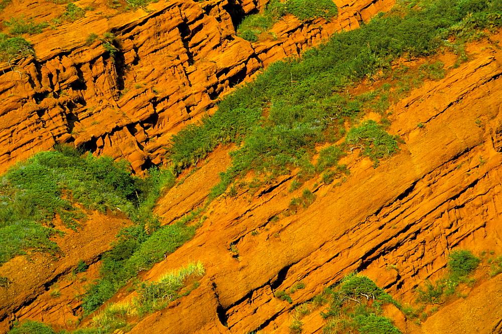 Detail of red cliff, Dzhety-Oguz, near Kara-Kol, Kyrgyzstan, Central Asia, Asia
