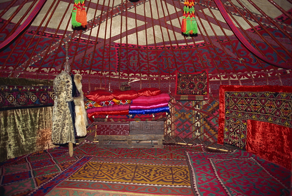 Interior of a traditional yurt, Bishkek, Kyrgyzstan, Central Asia, Asia