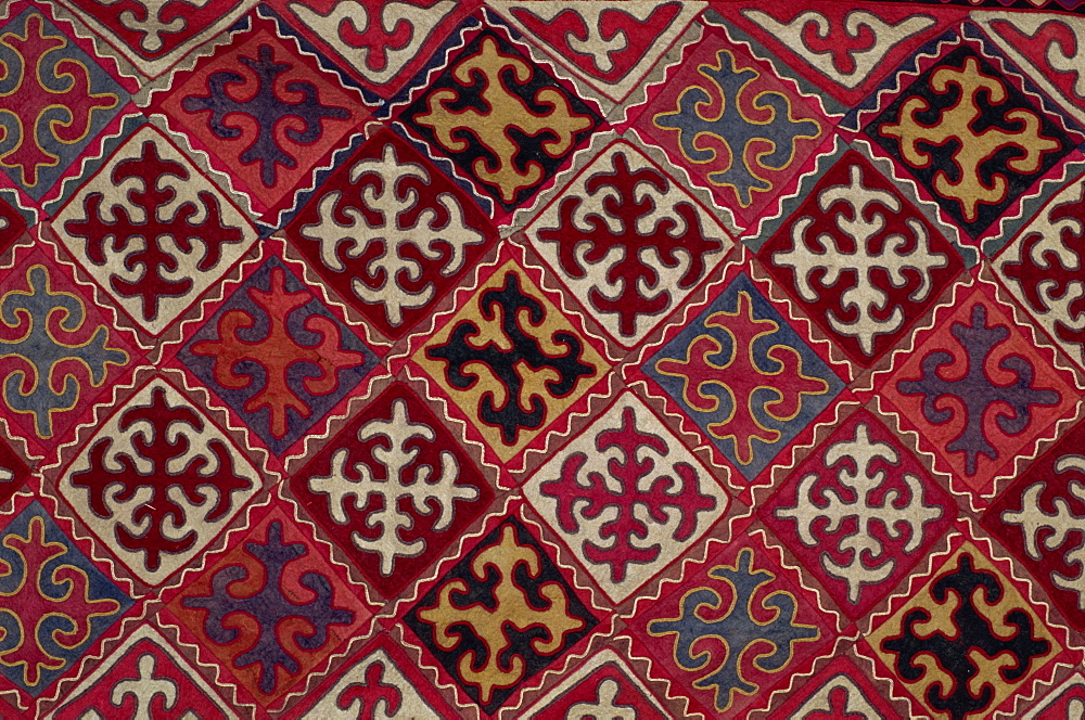 Traditional Kirghiz felt wall hanging, Bishkek, Kyrgyzstan, Central Asia, Asia