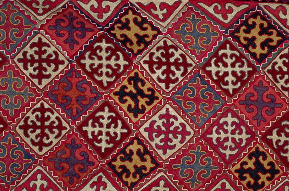 Traditional Kirghiz felt wall hanging, Bishkek, Kyrgyzstan, Central Asia, Asia