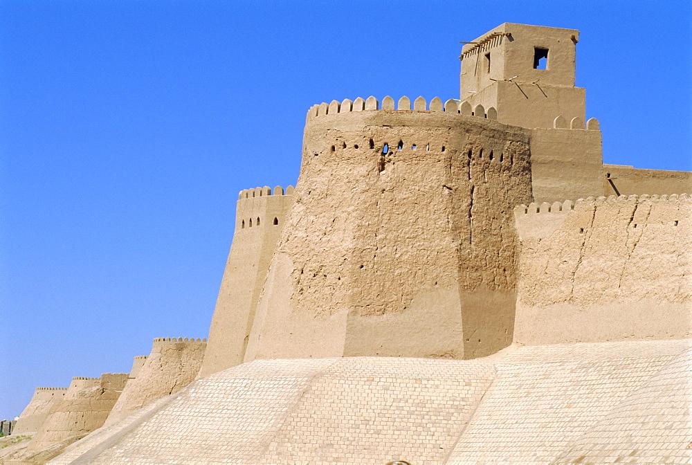 Khiva, old city walls by West Gate, Uzbekistan, Central Asia