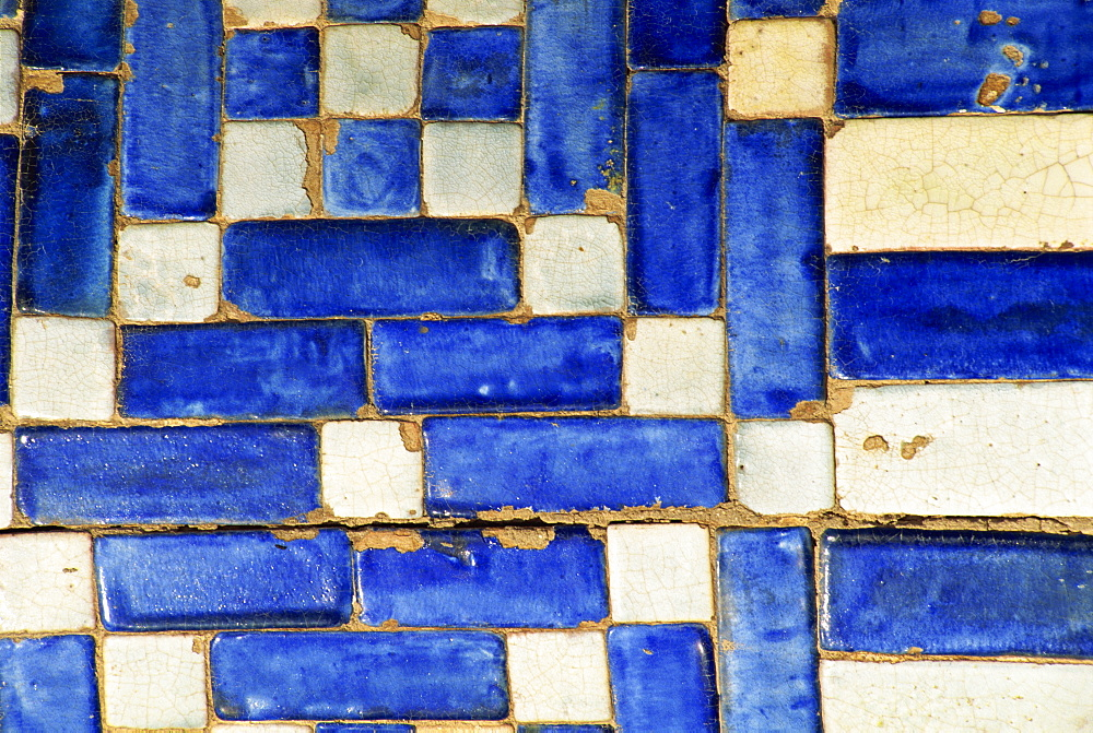Architectural detail of typical blue and white tiles in Khiva, Uzbekistan, Central Asia, Asia