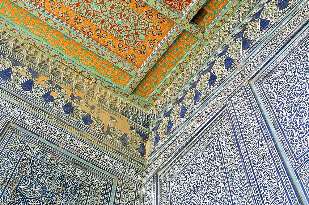 Painted ceiling, the harem, Tash Khauli Palace, Khiva, Uzbekistan, Central Asia, Asia