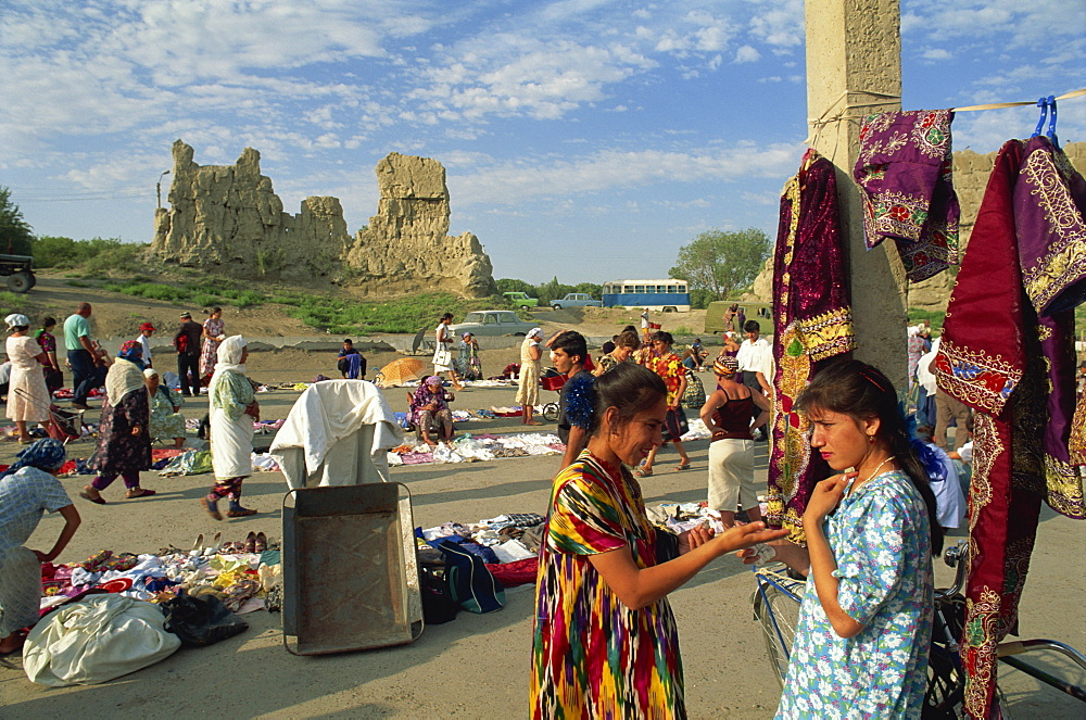 Second hand clothes market, Old City walls, Bukhara, Uzbekistan, Central Asia, Asia