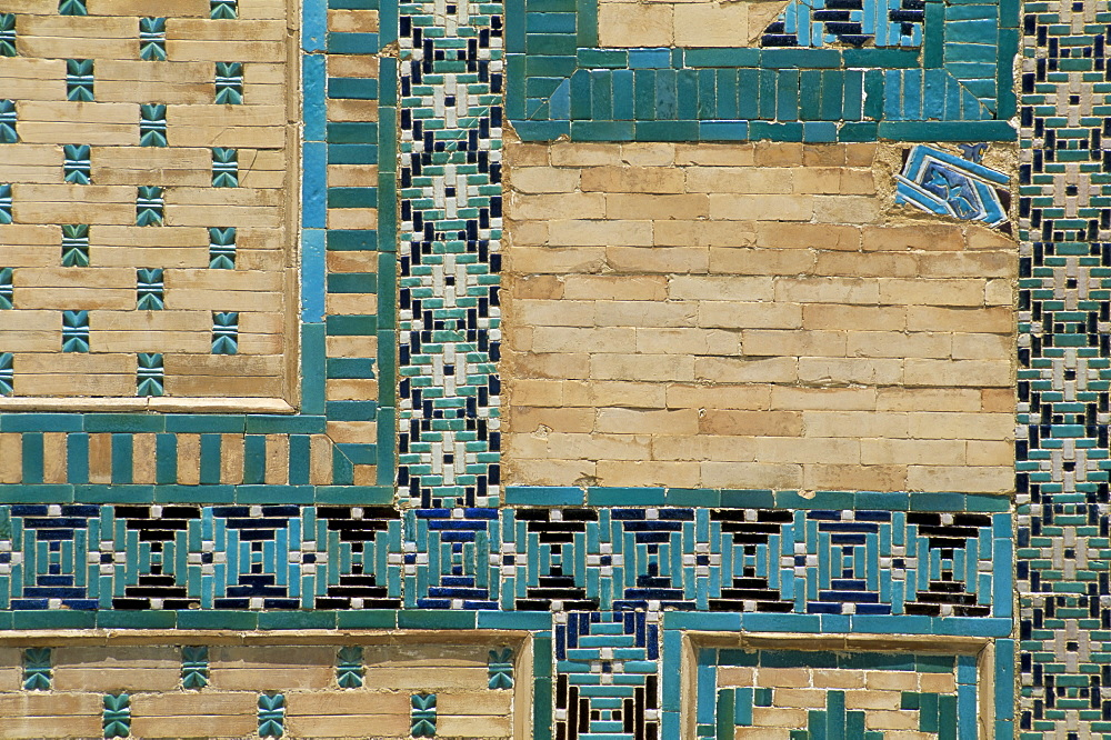 Close-up of turquoise ceramics, Shah-i-Zinda mausoleum, Samarkand, Uzbekistan, Central Asia, Asia