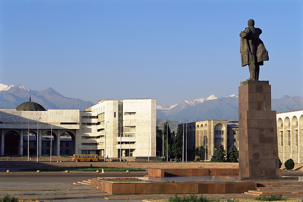 View of Lenin Square looking towards the Ala-Too range of mountains, Bishkek, Kyrgyzstan, Central Asia, Asia