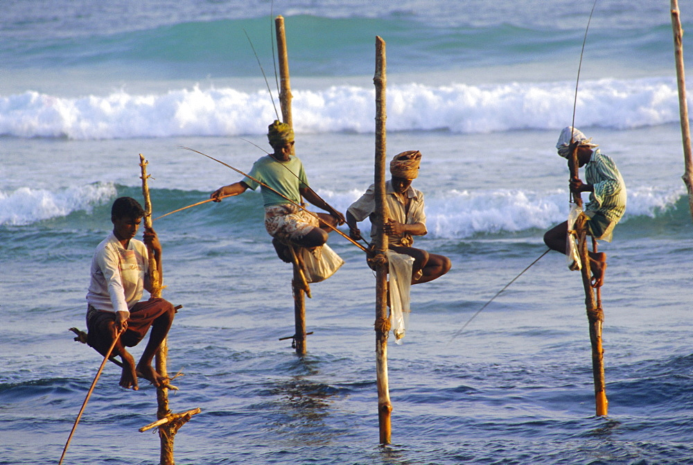 Stilt fishermen, Weligama, Sri Lanka, Asia