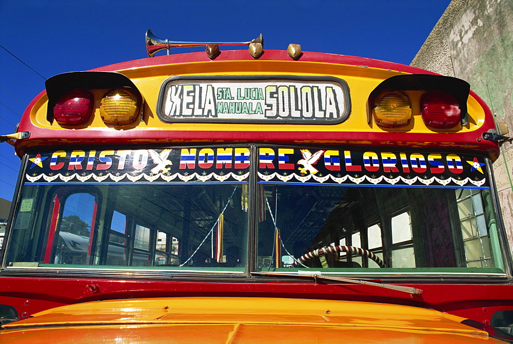 Local bus, formerly a U.S. school bus, Solola, Guatemala, Central America