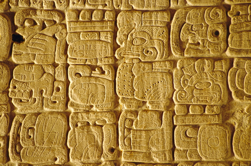 Mayan carvings on Stela, Tikal, Guatemala, Central America
