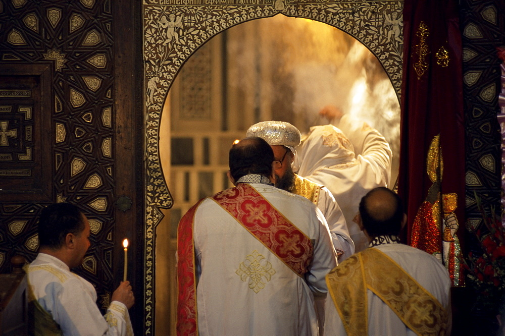 Coptic Christian Christmas service, Church of St. Barbara, Old Cairo, Egypt, North Africa, Africa
